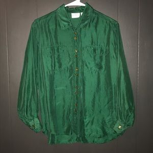 VTG emerald green 100% silk blouse size Small
